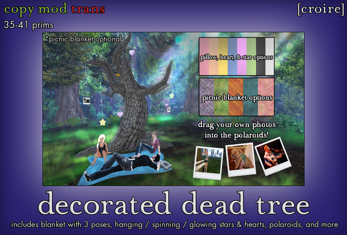 [croire] Decorated Dead Tree (Customizable colors, polaroids to add your own picture, poses) Grunge, dark, goth decor