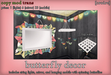 [croire] butterfly decor (mirror, string lights, spinning mobile)