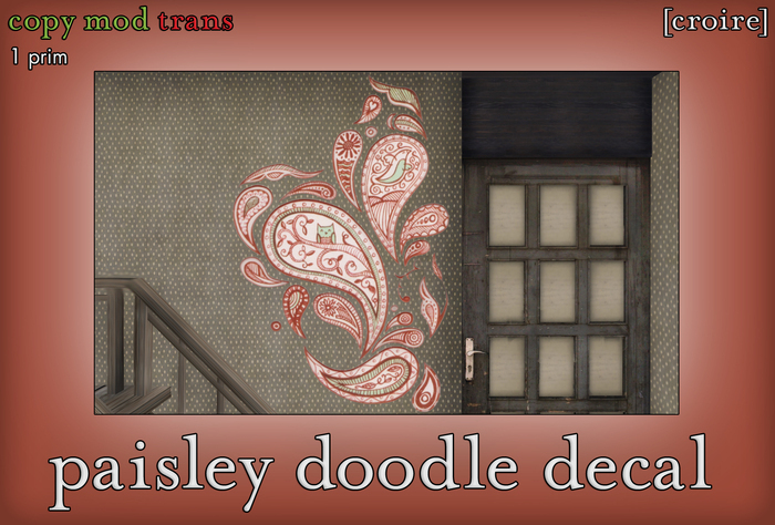 [croire] Paisley Doodle Decal (Hand-drawn wall decor, cute hipster indie owl)