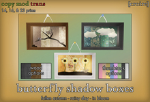 [croire] Butterfly Shadow Boxes (Unique hanging wall decor, nature, hippie, boho, kitsch, hipster, indie)