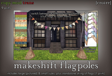 [croire] Makeshift Flagpoles (2 sizes, bunting flag color options) Hipster indie boho decor.