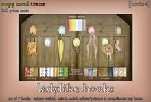 [croire] Ladylike Hooks Set (keys, umbrella, bra, necklace, scarf, bag, hat, hooks) Girly hipster hanging wall decor.