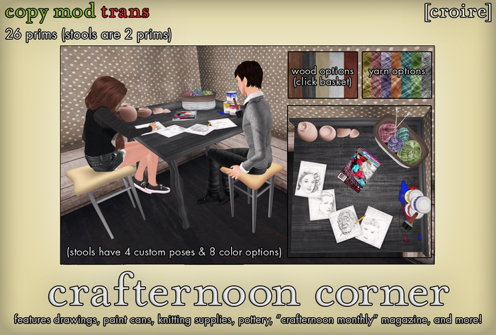 [croire] Crafternoon Corner (Craft table with chairs, poses, color options) Art studio for kids, child, teens