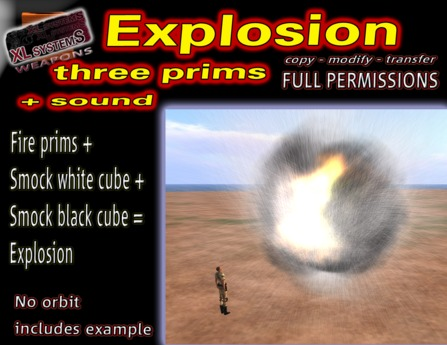 Explosion three prims + sound
