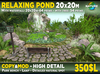 Relaxing POND 20x20m with waterfall or with tree - realistic piece of nature from 54 prims to 64 prims, COPY MOD