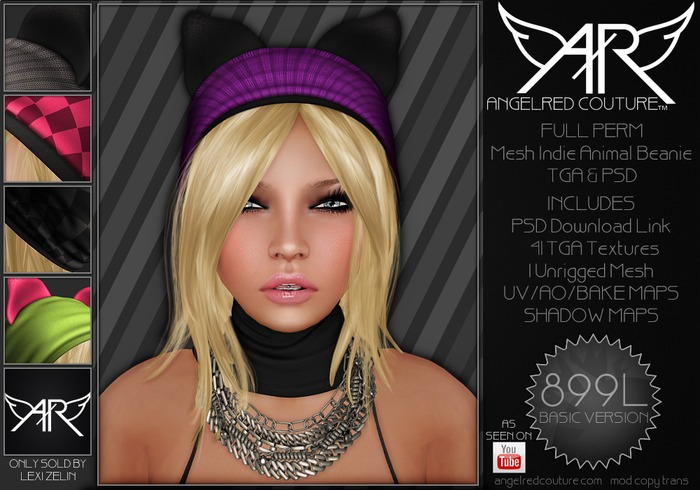 AngelRED - FULL PERM Mesh Indie Animal Beanie [BASIC VERSION]
