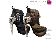 Full Perm Mesh Ladies Steampunk Ankle Boots