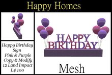 H.Homes ~ Mesh Happy Birthday Balloon Sign ~ Pink and Purple