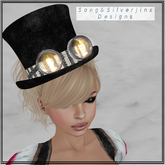 :SS: Angelic Stripes Steampunk Top Hat *Mesh*