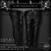 [[NS]] No Salvation Designs *MESH* DEMO Men's Death Leather Harness Cargo Pants