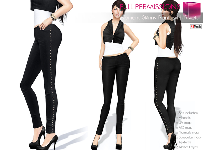 FULL PERM CLASSIC RIGGED MESH and FITMESH Women's Female Ladies Skinny Black Pants Leggings with Rivets