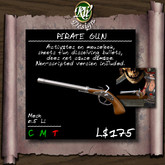 ** Pirate gun (boxed) -  Mesh unisex pirate's accessory - no damage fun weapon - shoots self dissolving bullets