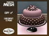 Birthday - Polka Dots ::: Pink & Brown Cake [Partial Mesh]