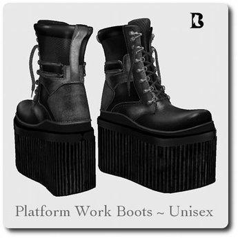 sale uk discount shop authentic quality Second Life Marketplace - Blackburns Platform Work Boots Unisex