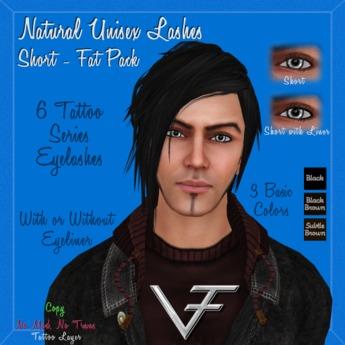 FAT PACK of SHORT NATURAL Unisex Eyelashes & Eyeliner - Tattoo Layer