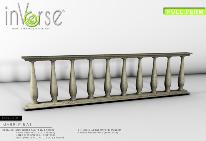 inVerse®*MESH* Marble Railing - full perm  for developers