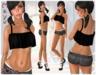 (2Chez) Mayu Black Denim Shorts, Top, & Shoes Rigged Mesh - Shorts in 2 Styles