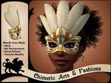 Feathered Mardi Gras Mask (White & Gold)