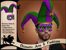 ~Chimeric Fashions~ Domino Mask & Jester Hat (Purple & Green)