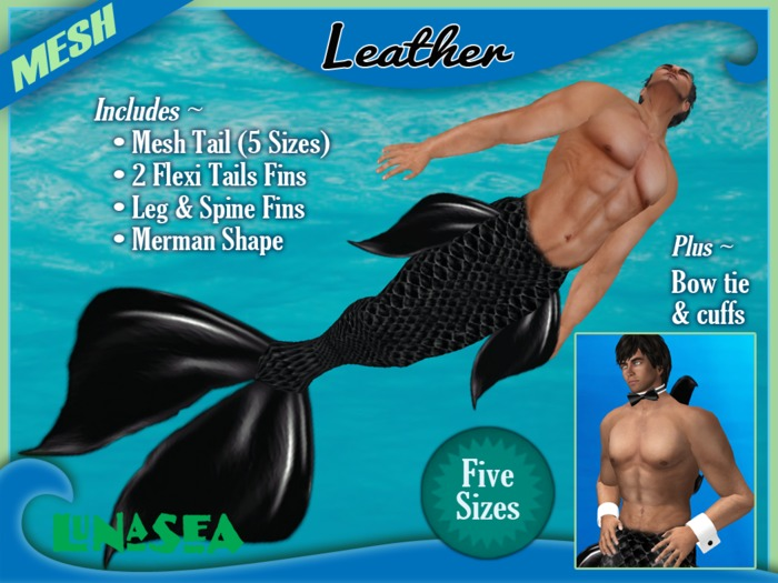 =LunaSea= Merman Outfit - Leather (5 Sizes)