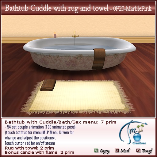 Second Life Marketplace Bathtub Cuddle With Rug And Towel 108