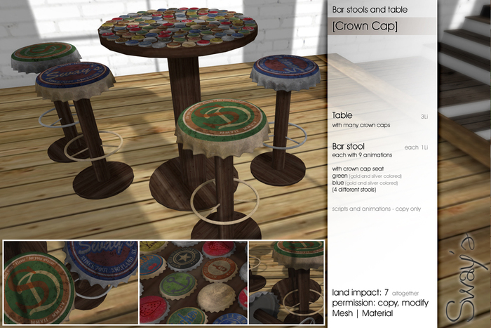Sway's [Crown Cap] Bar stools & Table