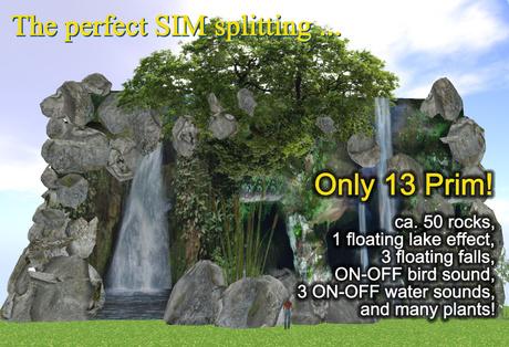 Waterfall Sim Split Panorama Falls (4 to 70 m) 13 prim, mod/trs