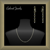 Beloved Jewelry : Gold and Silver Link Bead Jewelry Set (2 Piece Jewelry Set-Necklace and Dangle Earrings)