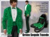 [Phunk] Mesh Men's Green Sequin Tuxedo & Wingtips