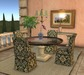 DINNER PARTY II V8 ROUND TABLE FOR 4 - Bronze and Travertine
