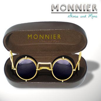 M O N N I E R - Leather Round Glasses(MESH)