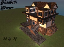 Elizabeth Manor Medieval Goth House 4 Story Open Home Fits 32X32 Library Dungeon Balcony 106 prims LI Secret Stairs
