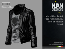 .:Nian Design:.067-Male Leahter Biker Jacket with t-shirt Mesh Full Permissions