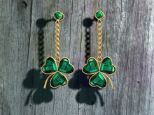 *dL* St. Patrick's Day Emerald Clover Earrings