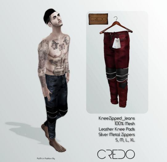 CREDO // KneeZip_Jeans_RED