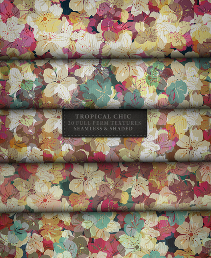 Tropical Chic ♥ { 20 full perm floral fabric textures - seamless & shaded }