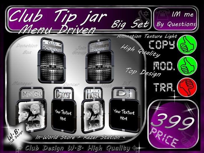 *ToP* Big Club TiP JaR Set >> MeNu DrIVeN <<