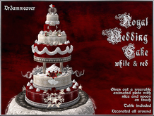 Dr3amweaver - Royal Wedding Cake - Red, White & Silver (with table)