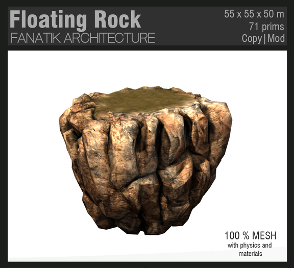 :Fanatik Architecture: Floating rock – medieval fortress on floating rock mountain - mesh building prefab with materials