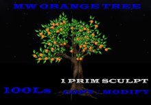 Mw orange tree 1 prim sculpted 12 face fruit tree
