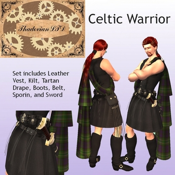 Thadovian LTD Leather Celtic Warrior Kilt Outfit
