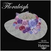 Hatpins - Floraleigh Straw Hat - Pastel Bouquet - White