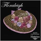 Hatpins - Floraleigh Straw Hat - Vintage Bouquet