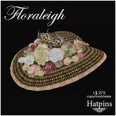 Hatpins - Floraleigh Straw Hat - Peachy Bouquet