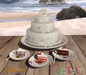 "Aphrodite ""Beach lovers"" wedding cake"