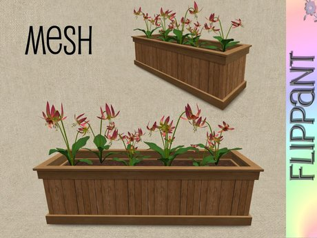 Lilies in Wood Planter [mesh]