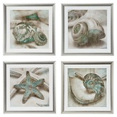 "<Heart Homes> ""Seashell Finders""  4 Wall Frames w. Shells (C)"