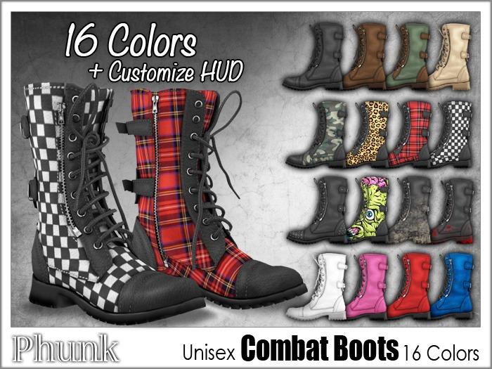[Phunk] Mesh Unisex Combat Boots (16 Colors)
