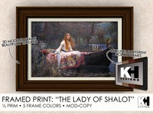 "KH Living: ""The Lady of Shalot"" Framed Print, 5 Different Frame Colors"