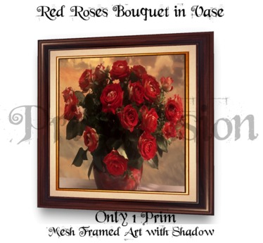 *PV* Red Roses Bouquet in Vase Picture - MESH